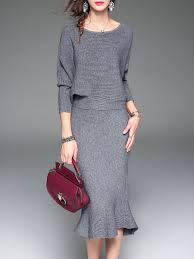 Shop Sweater Dresses - Red Elegant Two Piece Crew Neck Midi Dress online.  Discover unique designers fashion at StyleWe.com.