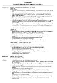 Performance Marketing Manager Resume Samples Velvet Jobs