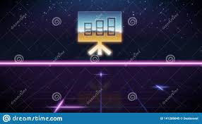 Synthwave Retro Design Icon Of Bar Chart Stock Illustration