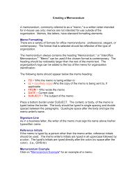 Example Of Office Memorandum Letter Creating A Memorandum