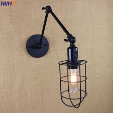 loft industrial iron cage. Vintage Led Wall Lamp Switch Loft Industrial Light Iron Cage Sconce Lamps Dining Room N