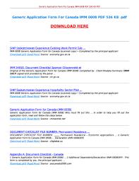 Generic Application Form For Canada Imm 0008 Pdf 536 Kb Fill
