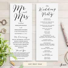 Wedding Ceremony Brochure Wedding Programs Instant Download Template Sweet Bomb Edit