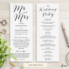 wedding reception program templates free download wedding programs instant download template sweet bomb edit print