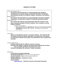 Types Of Economic Systems Chart Types Of Economic Systems Lesson Plan For 9th 12th Grade