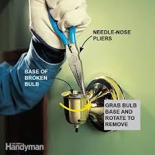 safely remove broken light bulbs from fixtures