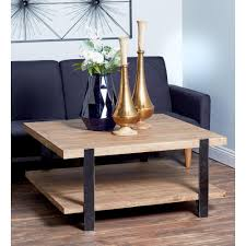industrial square black metal and natural wood brown coffee table with shelf 60222 the home depot