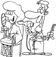 dresser clipart black and white. coloring page of a male hairstylist cutting woman\u0027s hair in salon - royalty free clipart picture dresser black and white