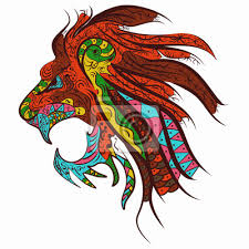 Plakát Vzorovaná Hlava Lva Tetování Designu Zentangle