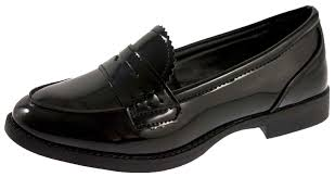 girls slip on loafers faux leather school shoes