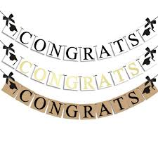 1 Set Cute Congrats Grad Banner Kraft Paper Bunting Garland