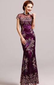 <b>Elegant Purple Mermaid</b> Chinese Evening Dress with Floral ...