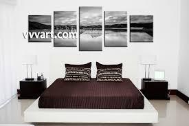 bedroom decor 5 piece wall art mountain wall art landscape wall decor  on wall art bedroom decor with 5 piece canvas mountain ocean black and white art