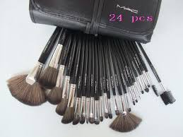 their not real mac brushes mac 24 pcs brushes set with black leather pouch mac cosmetic bag 24 piece