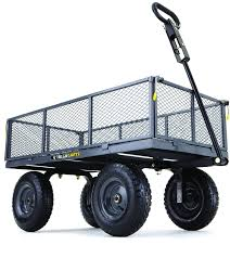 details about steel 6 cubic feet yard garden cart wagon utility heavy duty lawn wheel trailer