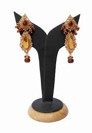 yellow and brown stones chandelier style polki earrings for weddings