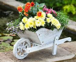 smart garden wooden whitewash wheelbarrow planter ornament