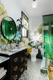 Eclectic Bathroom Features Floral ...