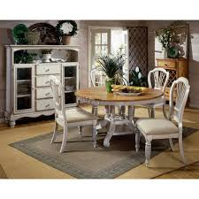hilale furniture wilshire antique white round dining table and four chairs