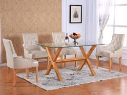 glass table with wooden legs and chairs oval coffee round oak extendable rectangular tempered top dining