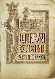 pare this page with the corresponding page from the book of kells see here especially the