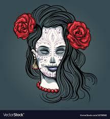 with sugar skull makeup vector image