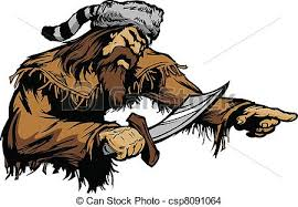 pioneer drawing. pioneer with bowie knife and coonsk - csp8091064 drawing t