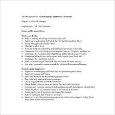 free housekeeping supervisor job description pdf download housekeeping job duties