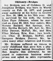 Obituary-Bridges, Ivy: Page 4, Thurs., 12/5/1946. Stanberry Headlight  (Stanberry, MO) - Newspapers.com