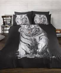 bedding heaven stunning tiger duvet cover quirky photographic animal print quilt set black and white single co uk kitchen home