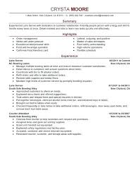 Waiter Resume Examples Adorable Example Of A Server Resume Server Resumes Lane Server Resume Sample