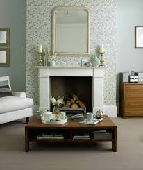 Small Picture Light blue floral living room wallpaper design with fireplace
