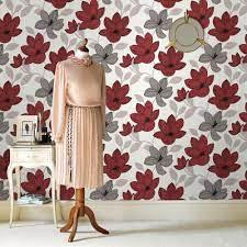 Graham & Brown Superflora Red Wallpaper ...