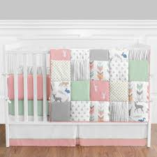 sweet jojo designs woodsy 9 piece crib bedding set with patchwork style for chic nursery decoration