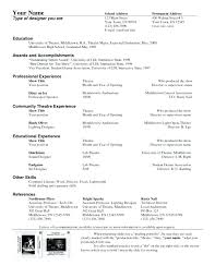 Tech Theatre Resume Technical Theatre Resume Template Technical Theater Resume Stage