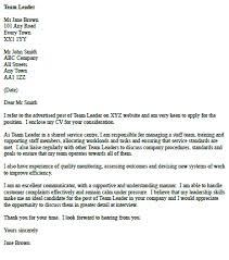 Cover Letter For A Team Leader Icover Org Uk