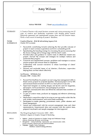 Advertising Managers Resume Job Description Resume Cv Sample For Creative Director Art Director
