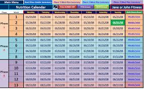 main nutrition calendar