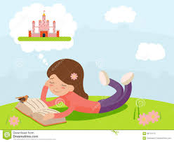 vector cartoon young happy smiling reading book lying on nature fantasy fairy tale characters icon symbol