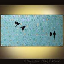 birds on a wire painting luxury bird painting large long original acrylic on canvas birds on
