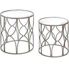set of two lattice detail silver side table  from baytree interiors