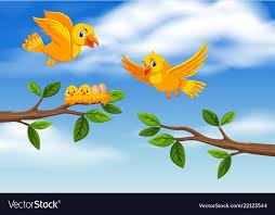 bird family at tree branch royalty free