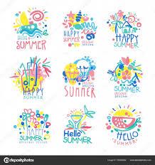 幸せな夏のロゴのテンプレート オリジナル デザイン設定カラフルな
