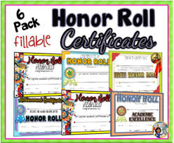 Fillable Certificates Honor Roll Certificates 6 Pack Fillable By Dp Sharpe Tpt