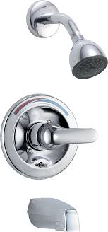 delta t13691 chrome commercial single handle tub and shower valve trim with push on diverter and metal lever handle faucet com