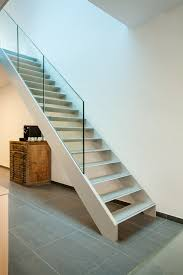 Aluminium stairs with glass balustrade on beam integrated - by AVC.