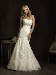 fitted mermaid strapless empire waist ivory lace wedding dress