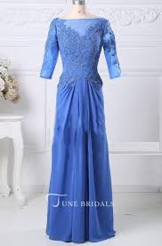 Colors Dress Size Chart Blue Mother Of The Bride Prom Formal With 3 4 Sleeves Jacket Boat Neck Prom Custom Size Color Dress