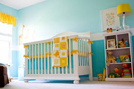 funky baby furniture. contemporary baby soft blue color scheme and white wooden crib for funky baby boy nursery  with hot yellow accent tone furniture m