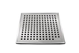 qm square shower drain grate made of stainless steel marine 316 and base made of abs lagos series mira line 4 inch satin finish kit includes hair